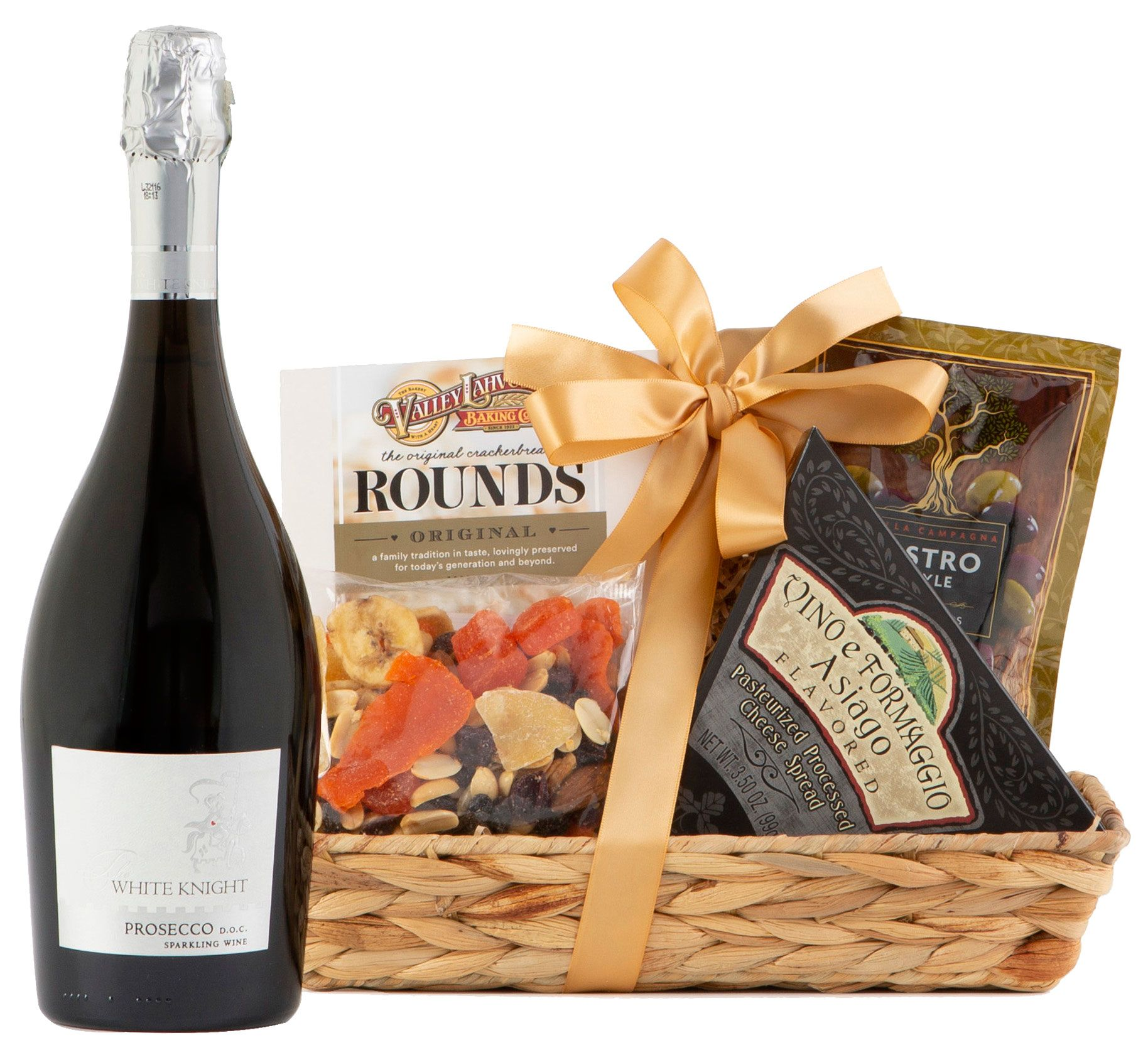 Supplemental gift image · 90 Point Prosecco & Cheese Gift Basket