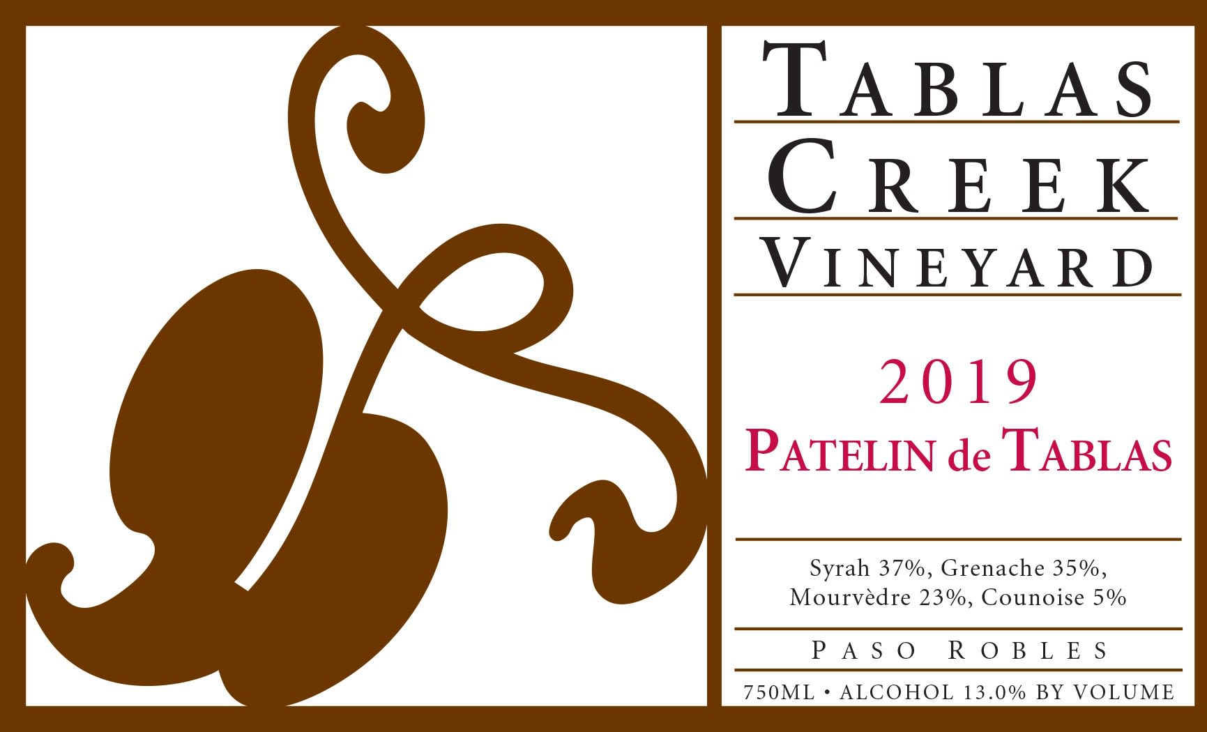 Tablas Creek Patelin de Tablas Rouge 2019  Front Label