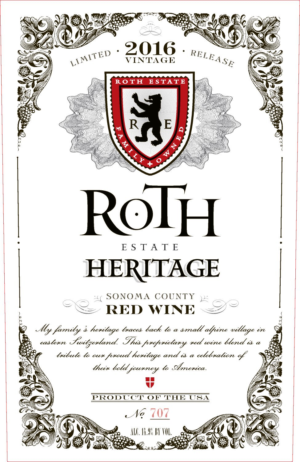 Roth Estate Heritage Red 2016  Front Label