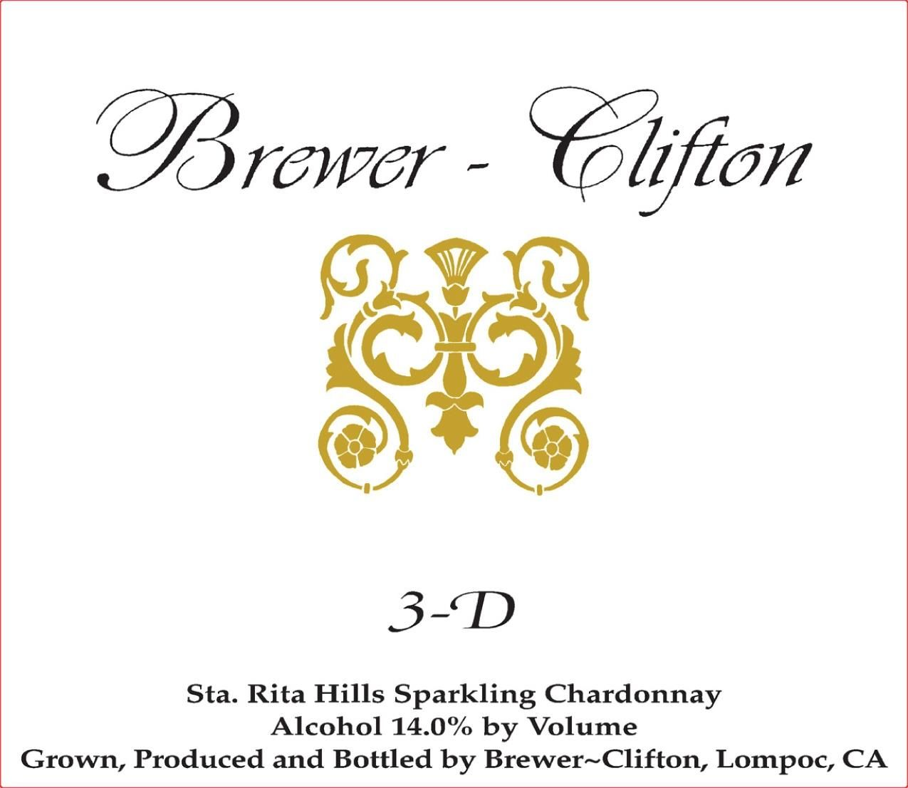 Brewer-Clifton 3D Chardonnay 2018  Front Label