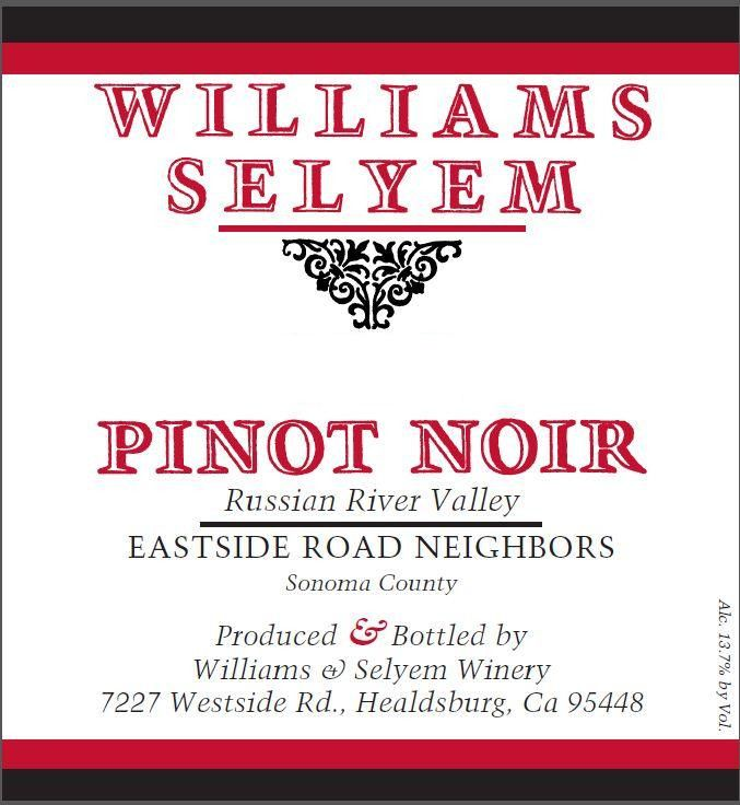 Williams Selyem Eastside Road Neighbors Pinot Noir 2017  Front Label