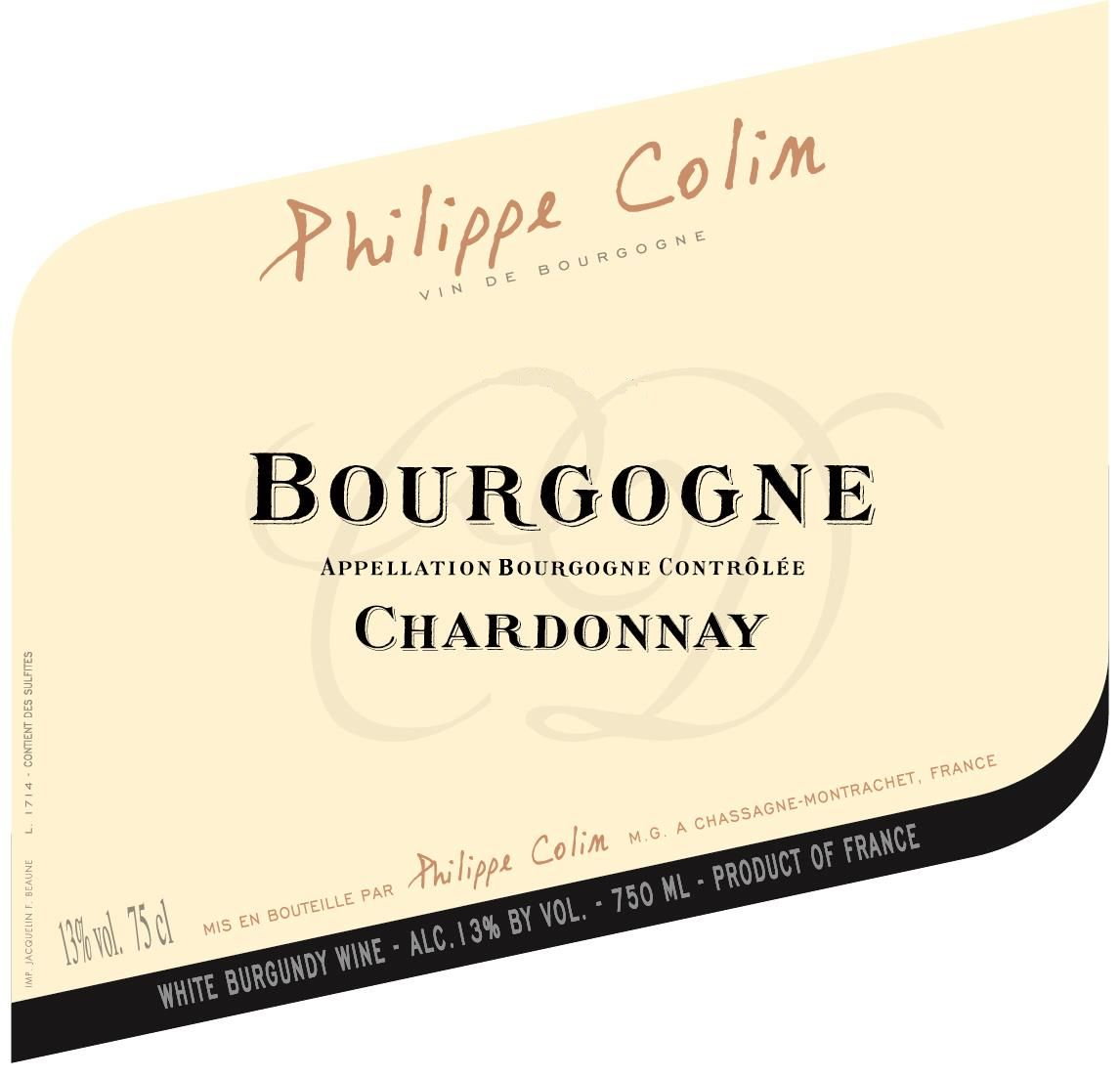 Philippe Colin Bourgogne Blanc 2017  Front Label