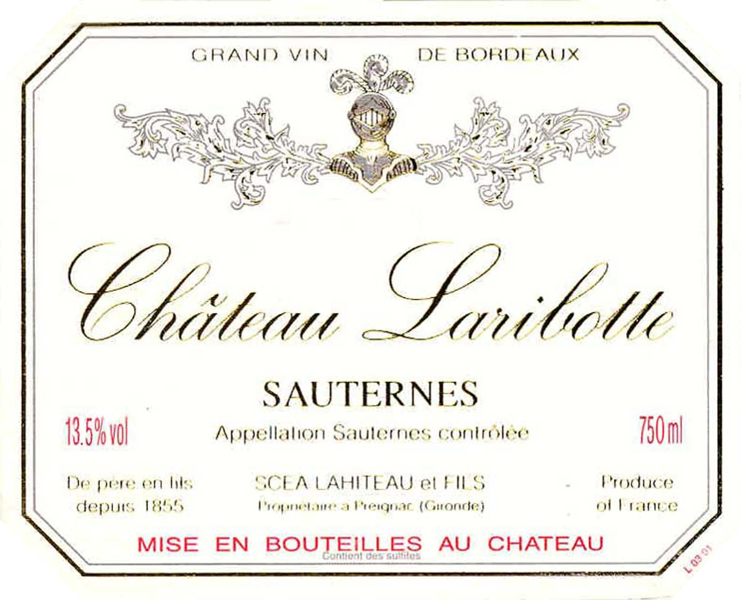 Chateau Laribotte Sauternes (375ML half-bottle) 2017  Front Label