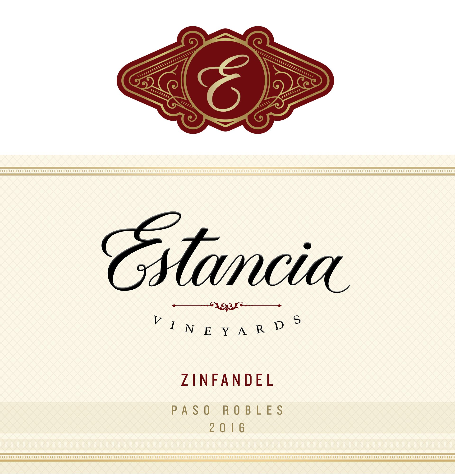 Estancia Paso Robles Zinfandel 2016 Front Label