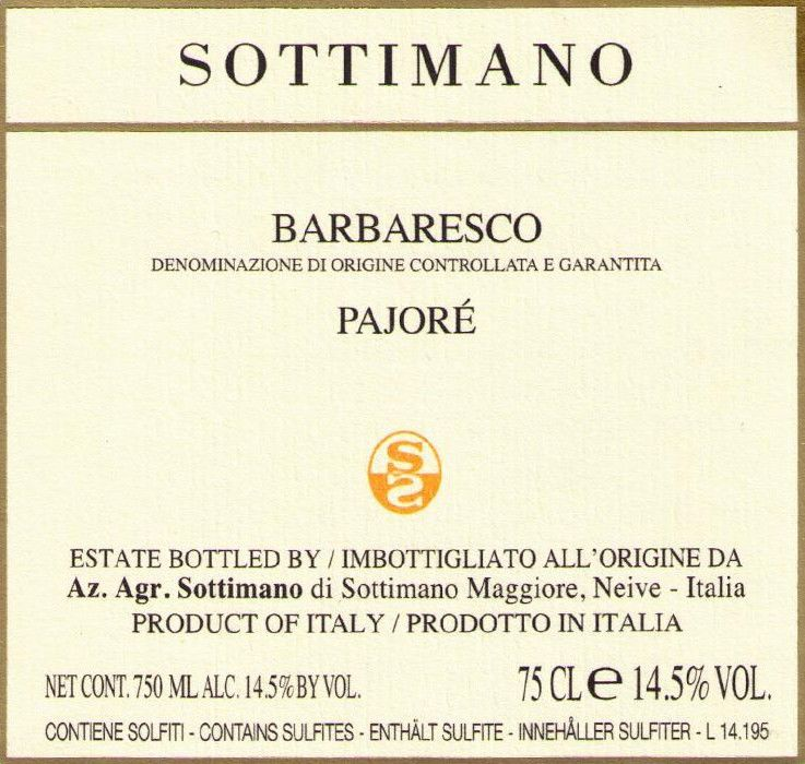 Sottimano Barbaresco Pajore 2017  Front Label
