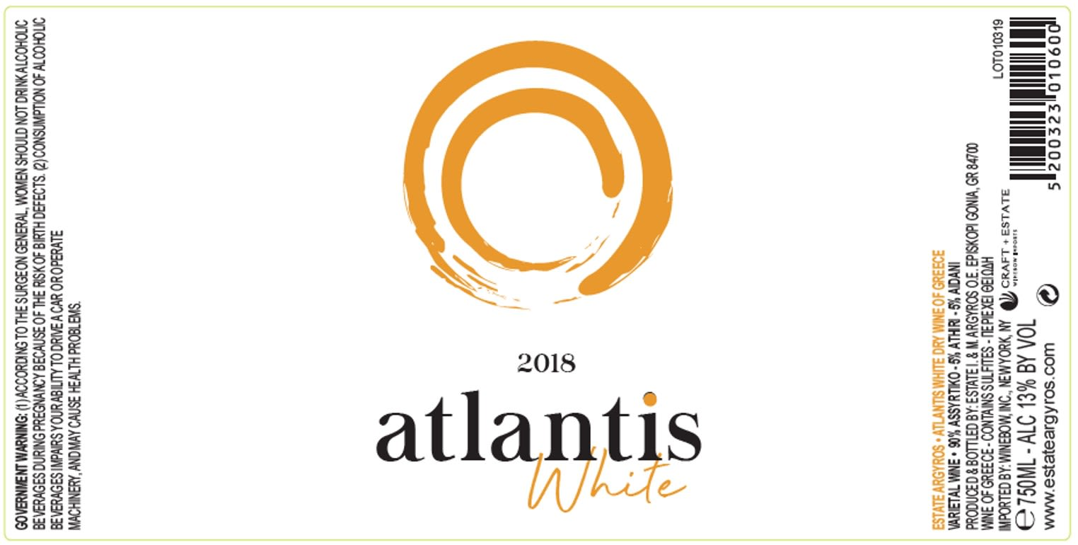 Argyros Atlantis White 2018  Front Label