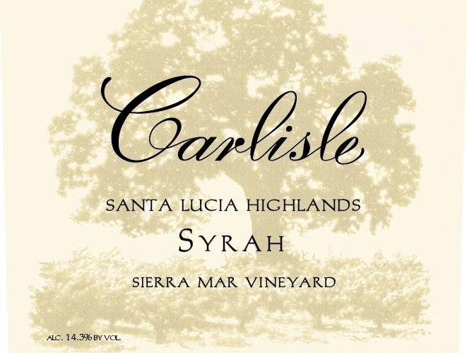 Carlisle Sierra Mar Vineyard Syrah 2015 Front Label