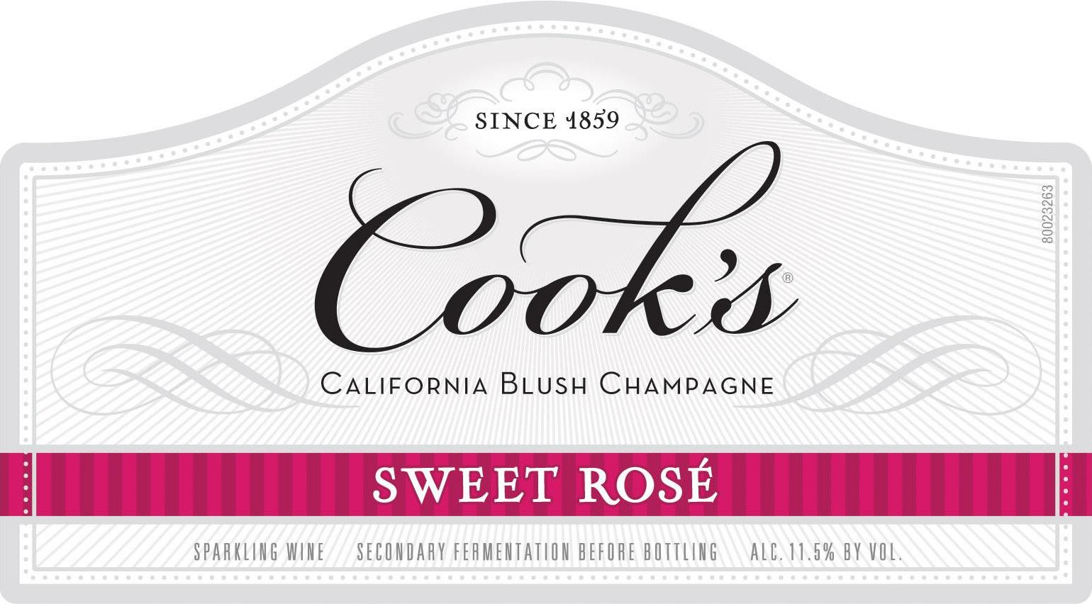 Cook's Blush Sweet Rose  Front Label