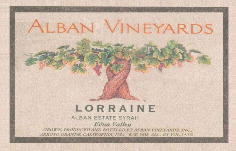Alban Lorraine Estate Syrah 2013 Front Label