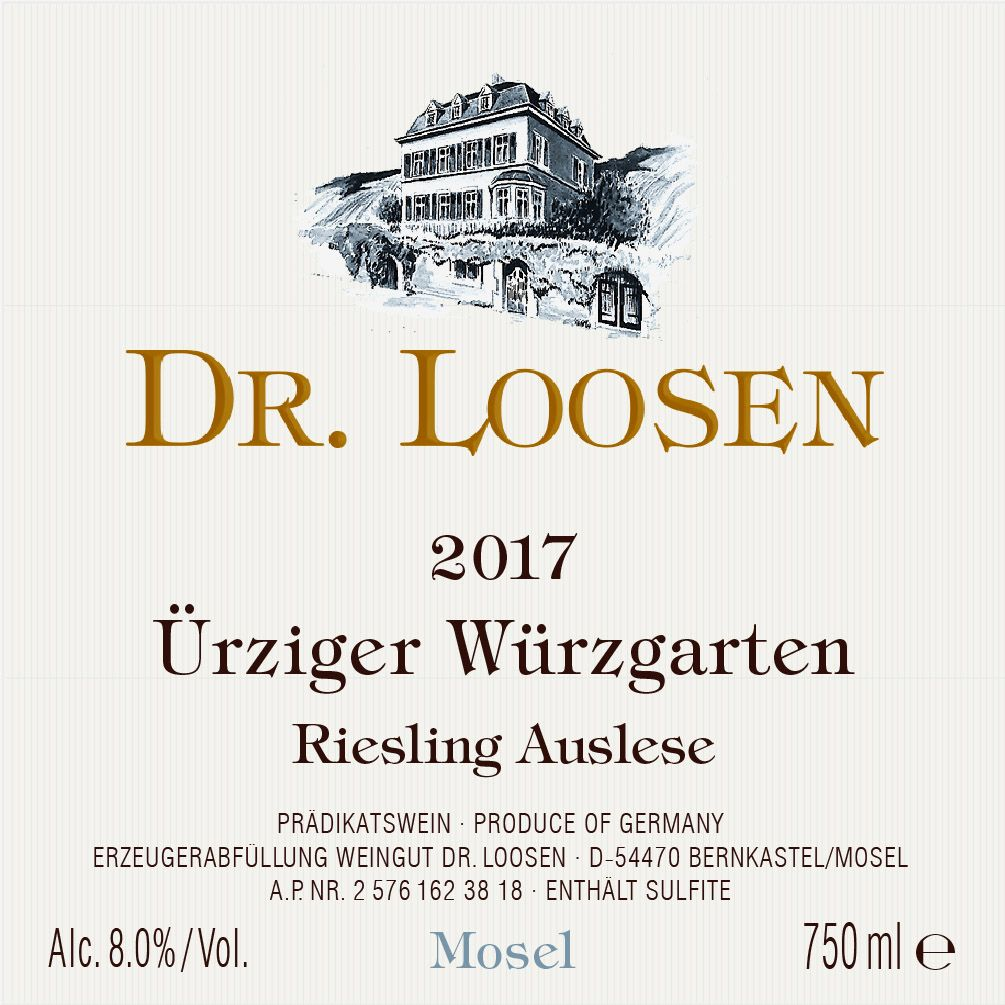 Dr. Loosen Urziger Wurzgarten Auslese (375ML half-bottle) 2017  Front Label
