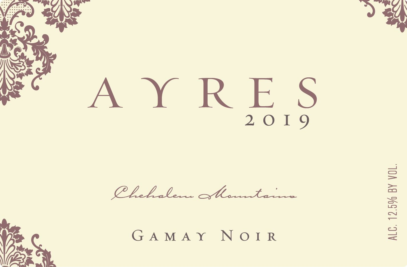Ayres Gamay Noir 2019  Front Label