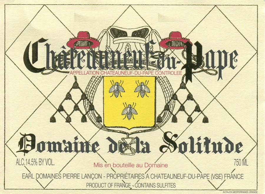 Domaine de la Solitude Chateauneuf-du-Pape 2017  Front Label