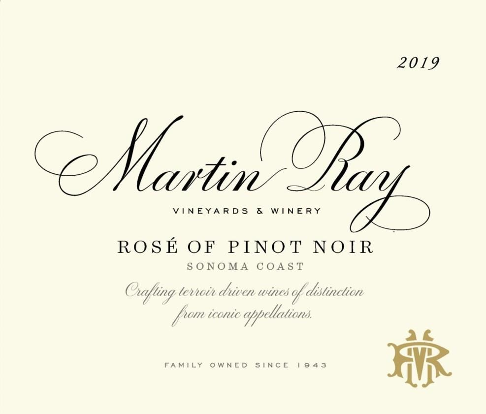 Martin Ray Rose of Pinot Noir 2019  Front Label