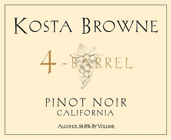 Kosta Browne 4 Barrel Pinot Noir 2009  Front Label