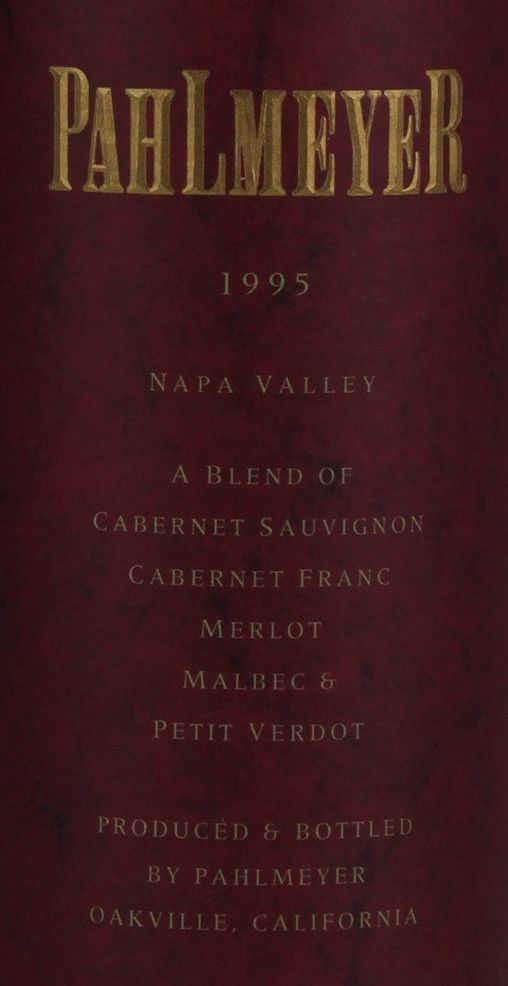 Pahlmeyer Napa Valley Proprietary Red 1995  Front Label