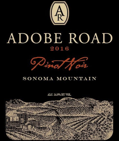Adobe Road Sonoma Mountain Pinot Noir 2016  Front Label