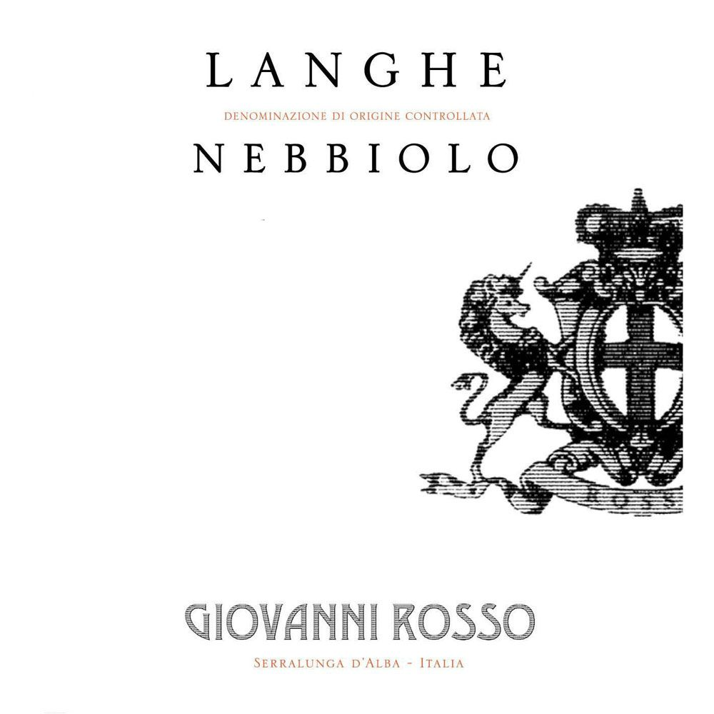 Giovanni Rosso Langhe Nebbiolo 2018  Front Label