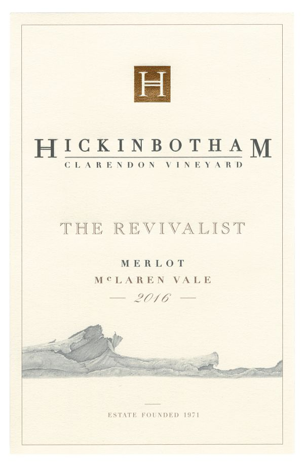 Hickinbotham The Revivalist Merlot 2016  Front Label