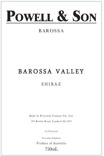 Powell & Son Barossa Valley Shiraz 2017  Front Label