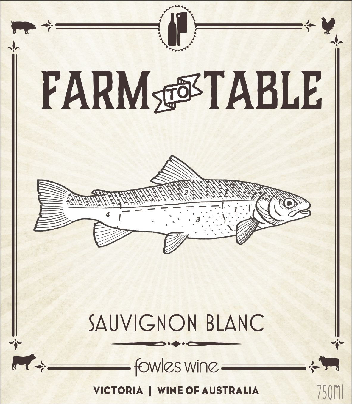 Fowles Wine Farm to Table Sauvignon Blanc 2018  Front Label