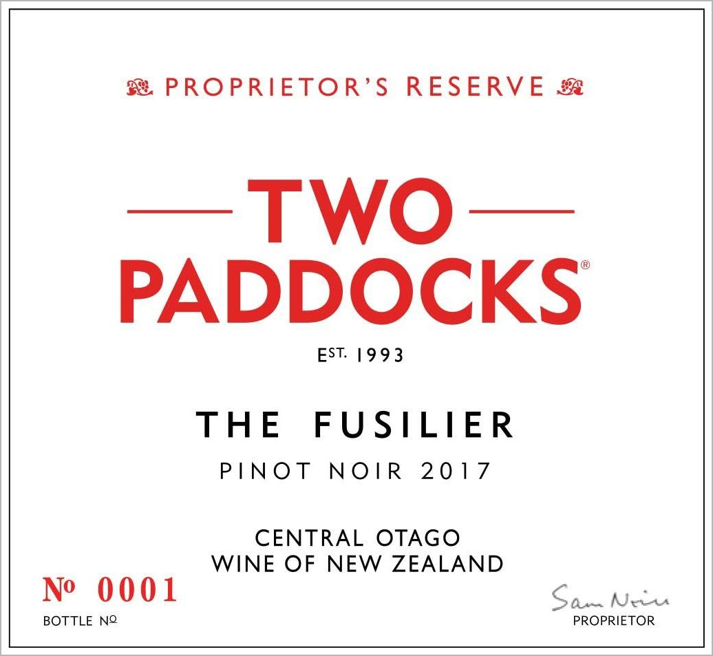 Two Paddocks Fusilier Pinot Noir 2017  Front Label