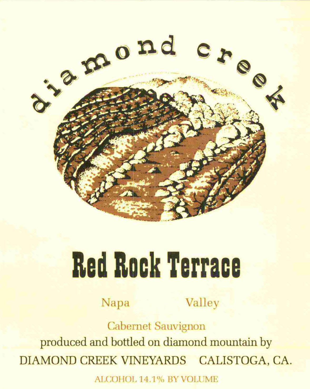 Diamond Creek Red Rock Terrace Cabernet Sauvignon (wine stained label) 2000  Front Label
