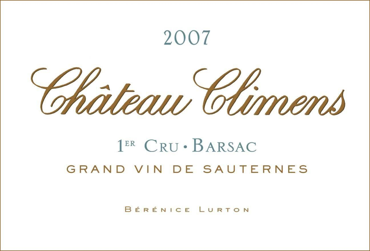 Chateau Climens (375ML half-bottle) 2007  Front Label