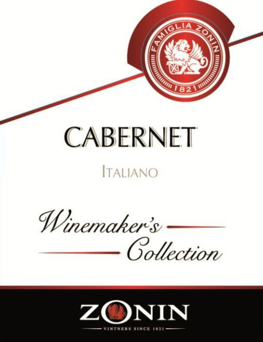 Zonin Winemaker's Collection Cabernet  Front Label