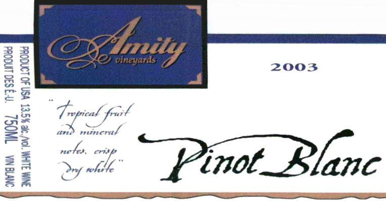 Amity Pinot Blanc 2003  Front Label