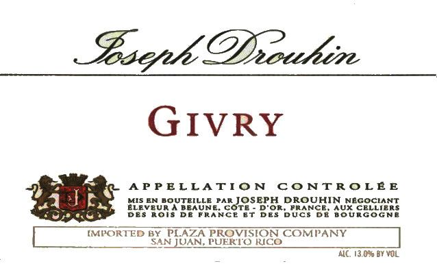 Joseph Drouhin Cote Chalonnaise Givry 2012  Front Label