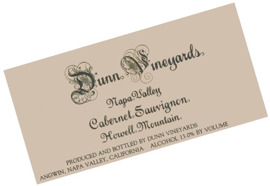 Dunn Howell Mountain Cabernet Sauvignon 1986 Front Label