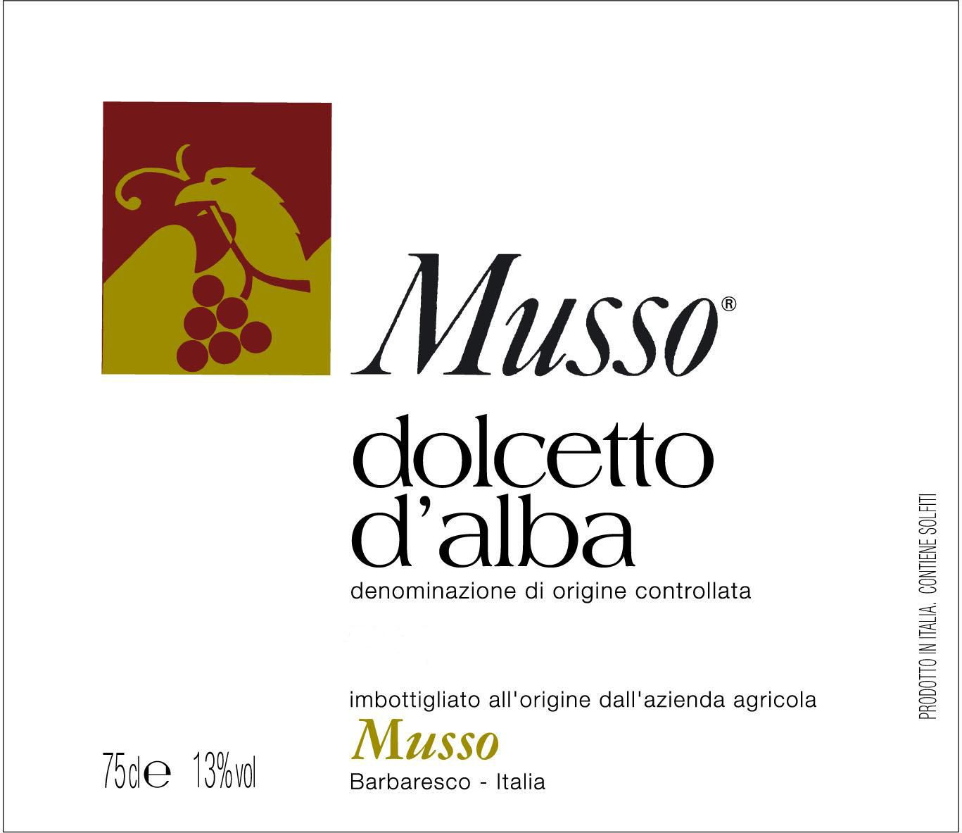 Musso Dolcetto d'Alba 2018  Front Label
