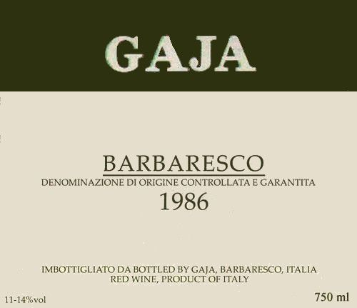 Gaja Barbaresco 1986  Front Label