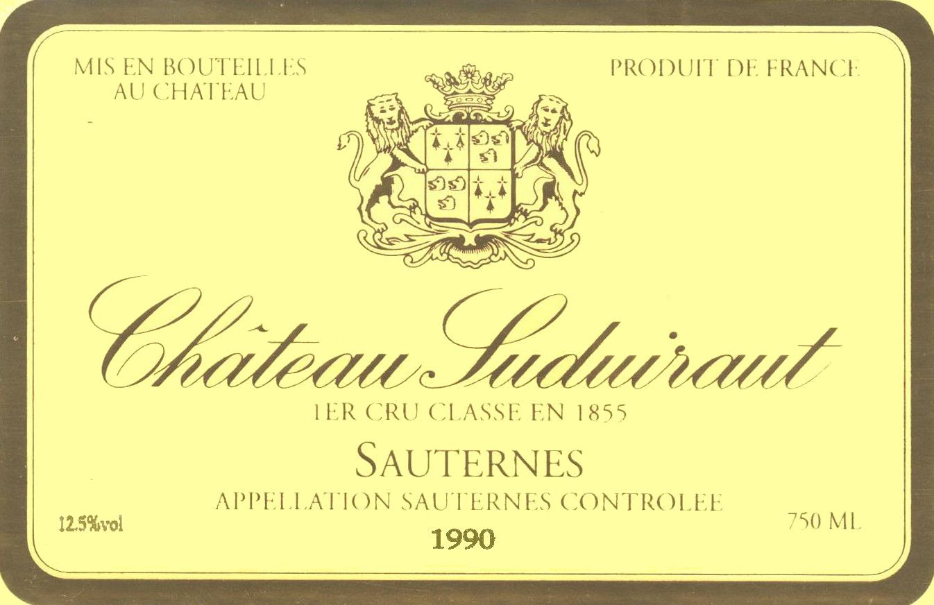 Chateau Suduiraut Sauternes (375ML half-bottle) 1990 Front Label