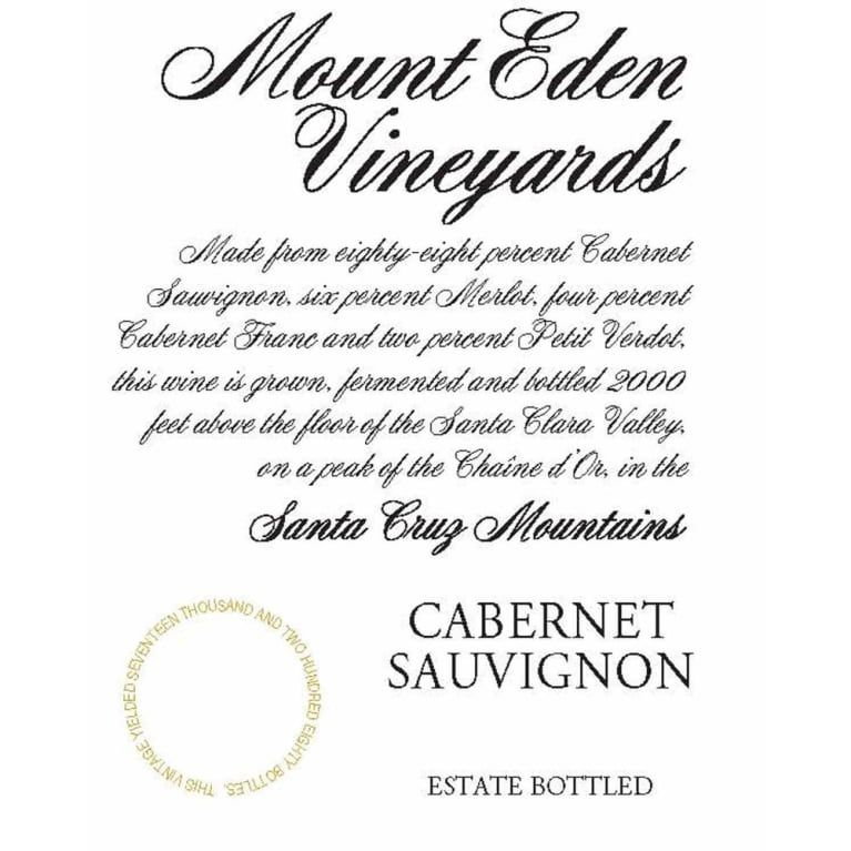 Mount Eden Vineyards Estate Cabernet Sauvignon 2015 Front Label