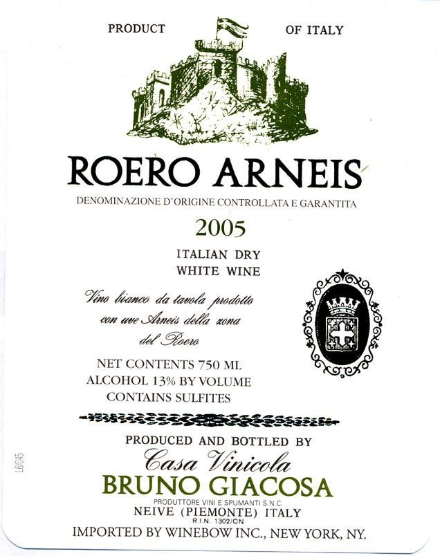 Bruno Giacosa Roero Arneis 2005  Front Label
