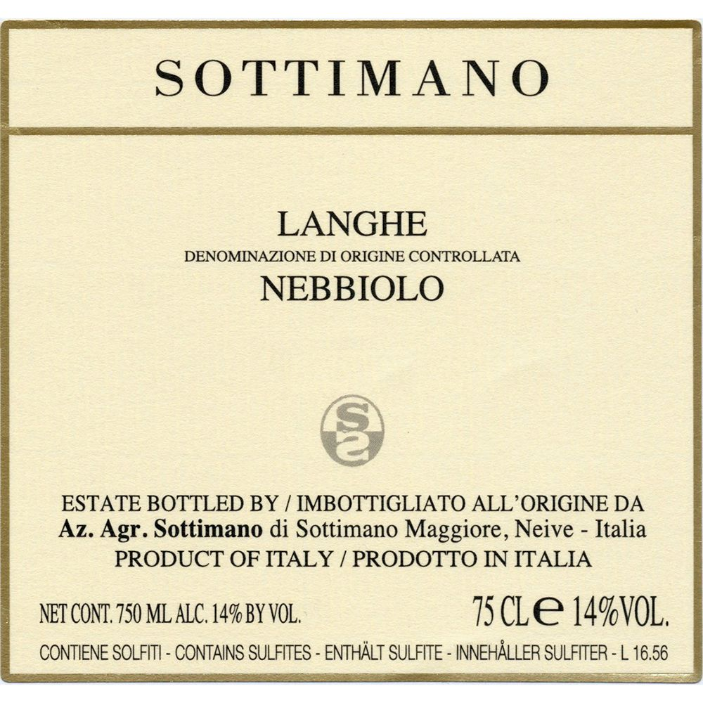 Sottimano Langhe Nebbiolo 2019  Front Label