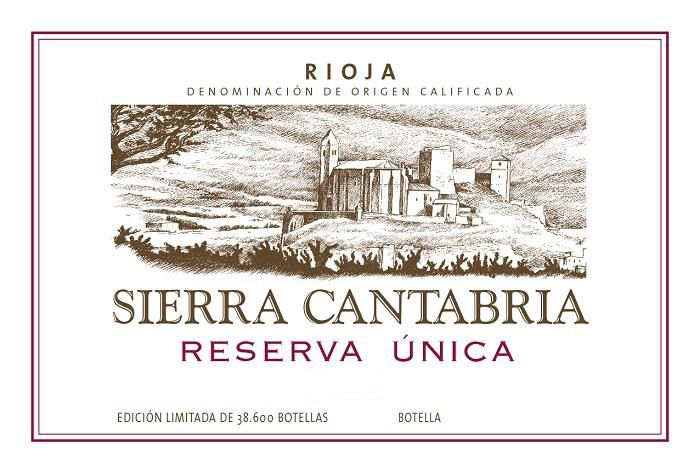 Sierra Cantabria Reserva Unica 2015  Front Label