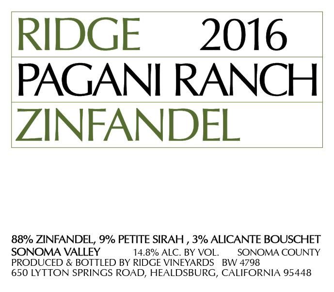 Ridge Pagani Ranch Zinfandel 2016 Front Label