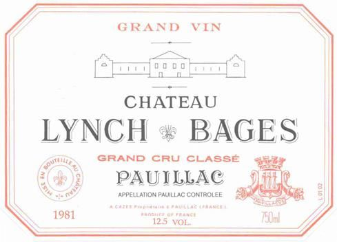 Chateau Lynch-Bages  1982 Front Label