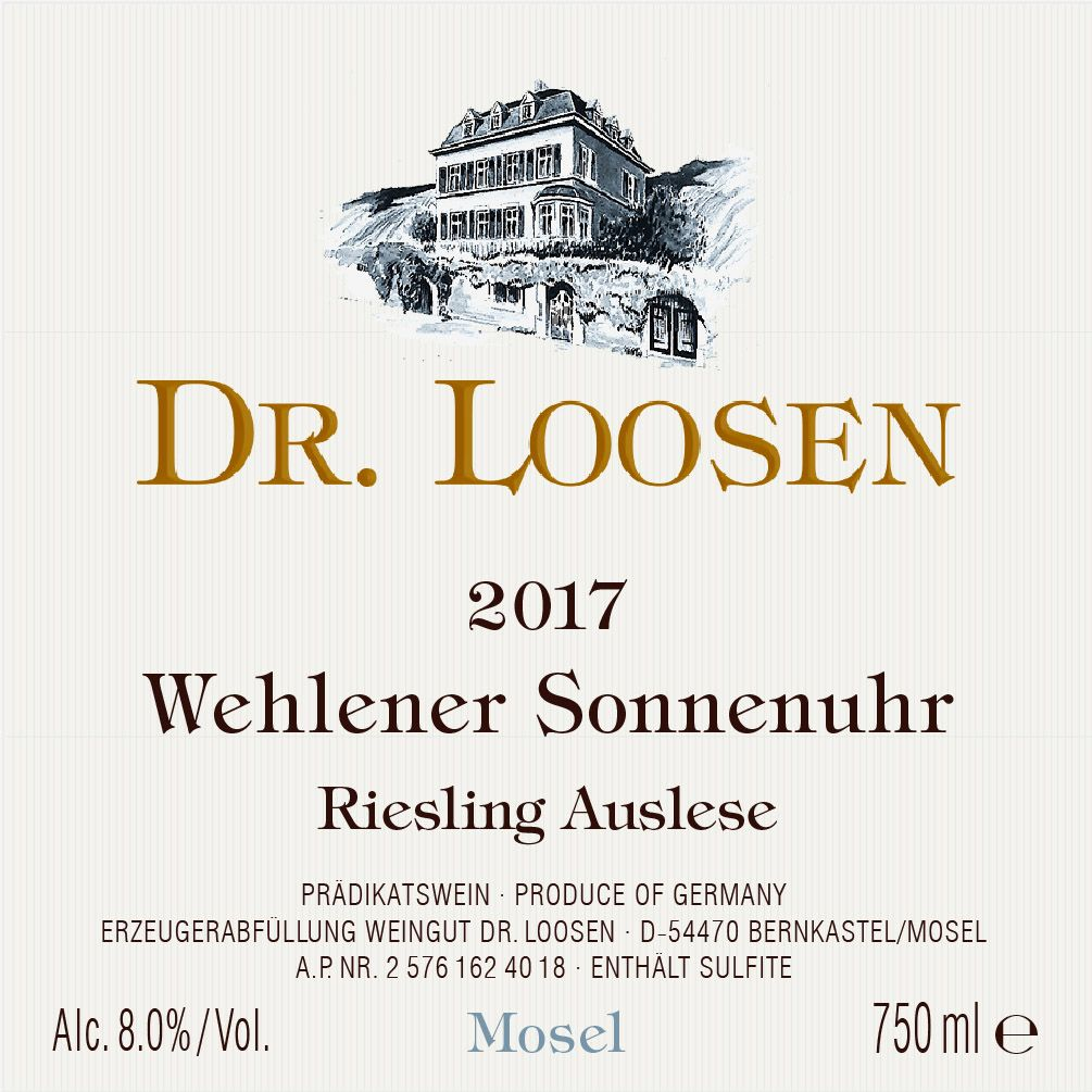 Dr. Loosen Wehlener Sonnenuhr Auslese (375ML half-bottle) 2017  Front Label