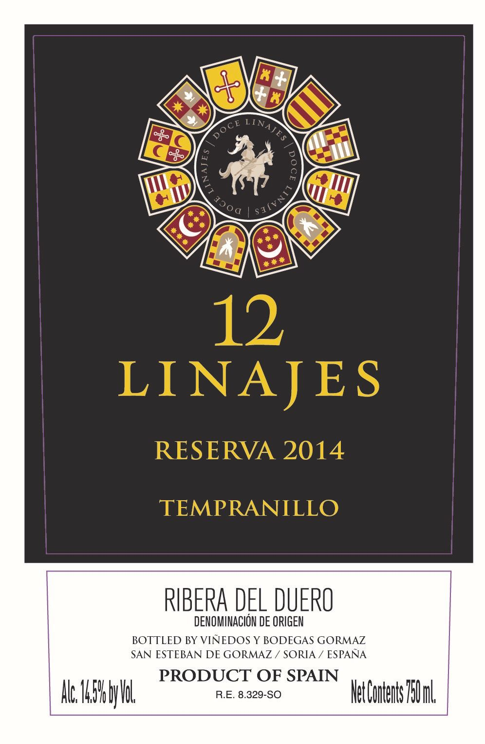 12 Linajes Reserva 2014  Front Label