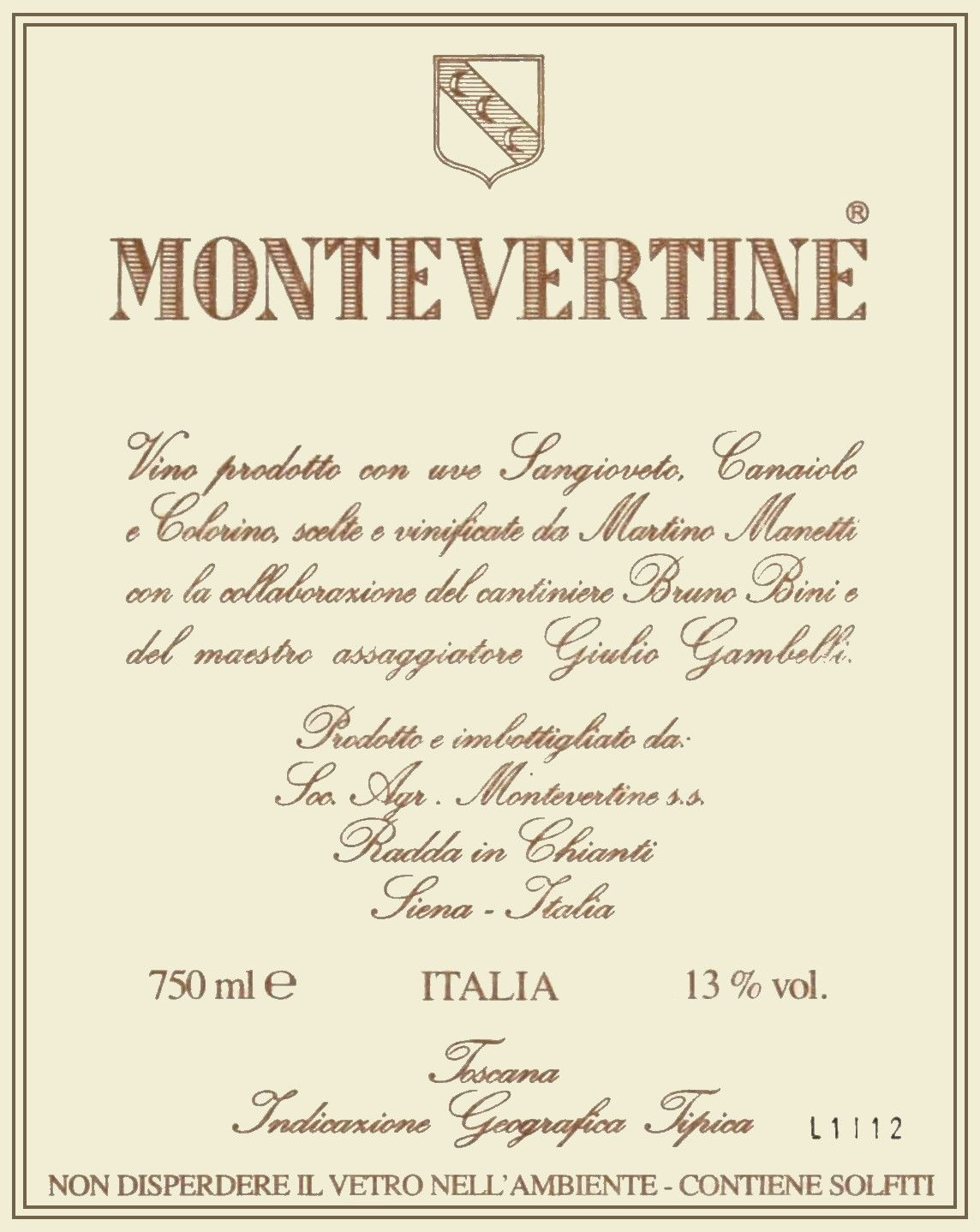 Montevertine Toscana Rosso 2014  Front Label