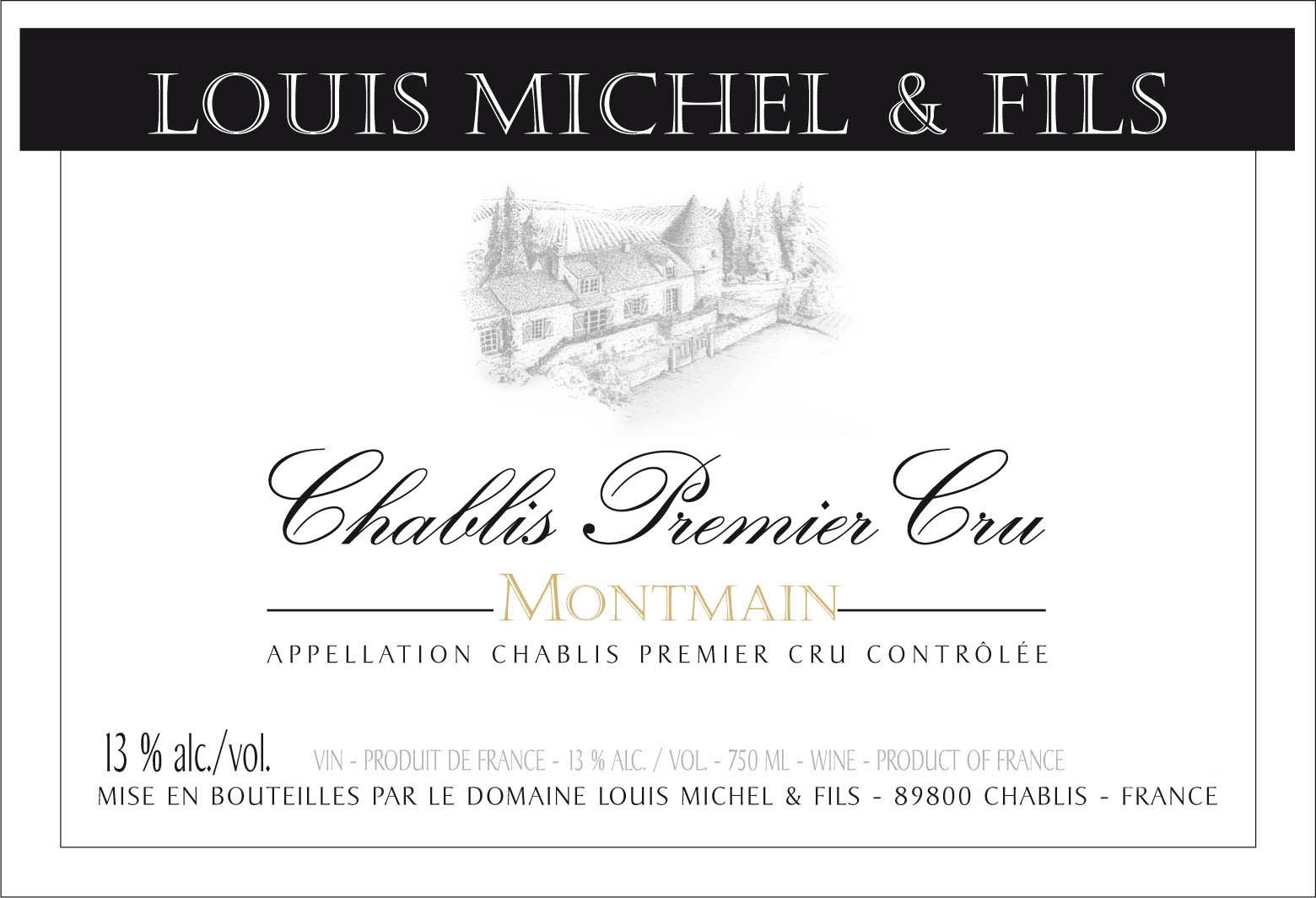 Domaine Louis Michel et Fils Chablis Montmain Premier Cru (375ML half-bottle) 2017  Front Label