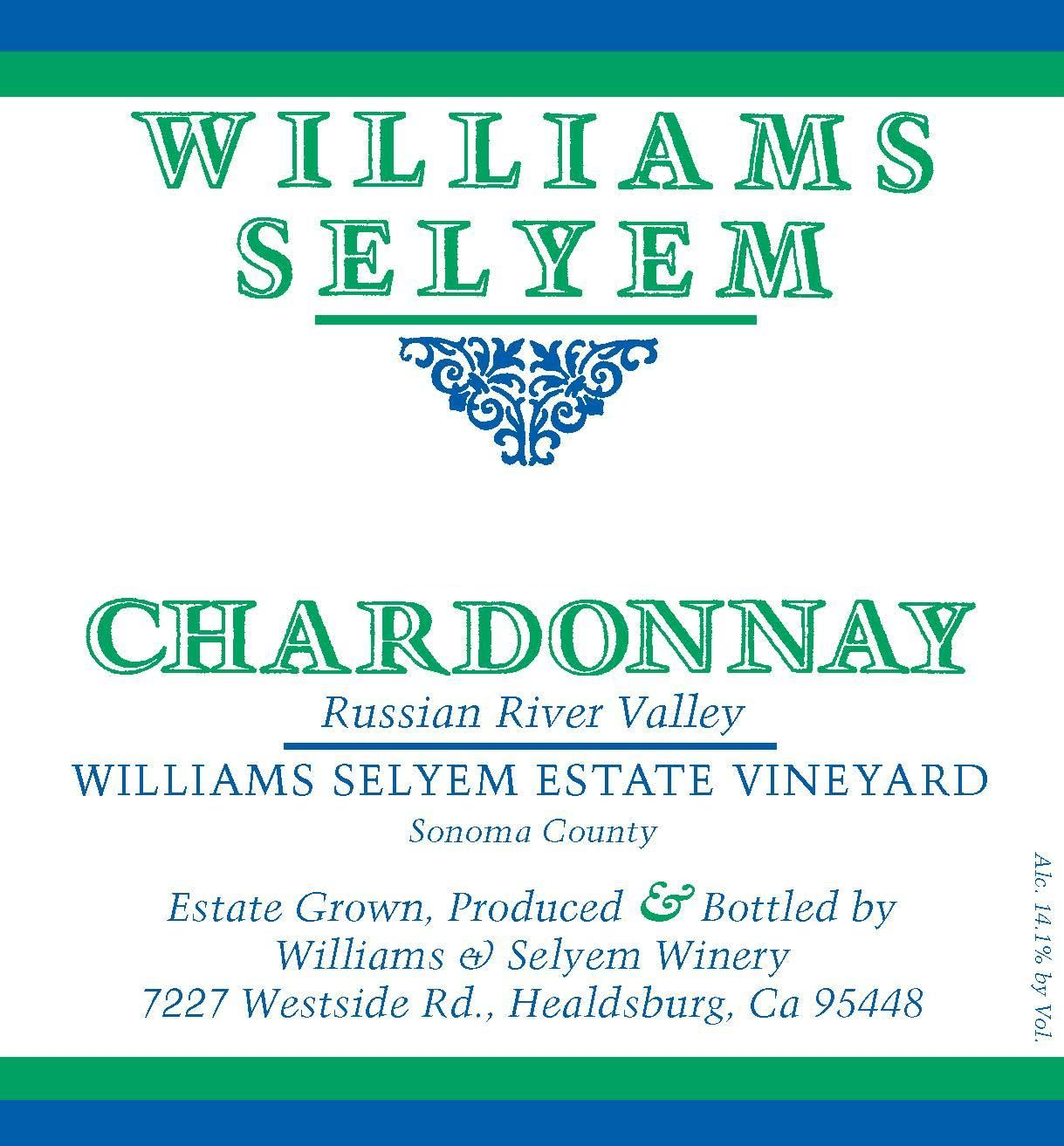 Williams Selyem Estate Vineyard Chardonnay 2017  Front Label