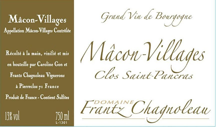Domaine Frantz Chagnoleau Macon-Villages Clos St Pancras 2017 Front Label