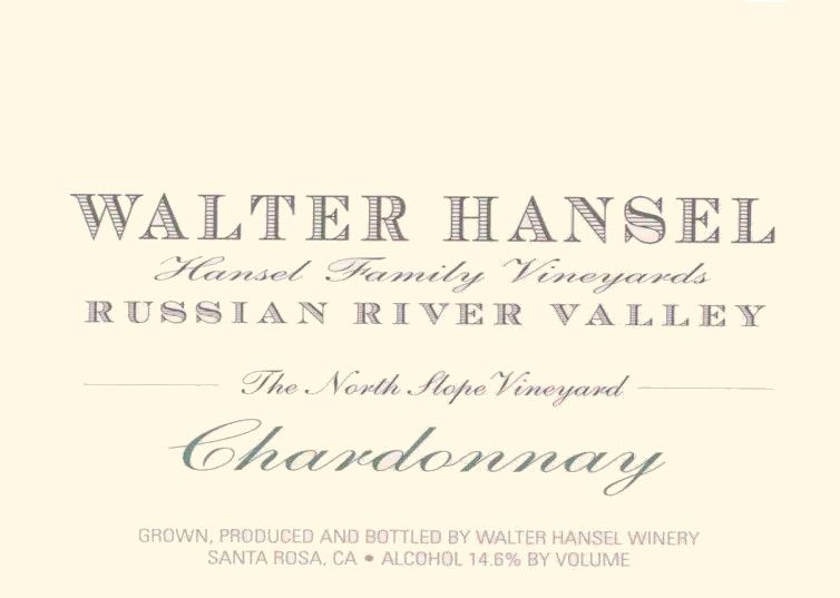 Walter Hansel The North Slope Vineyard Chardonnay 2017  Front Label