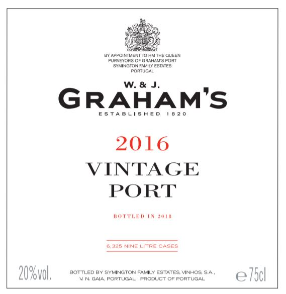 Graham's Vintage Port 2016  Front Label