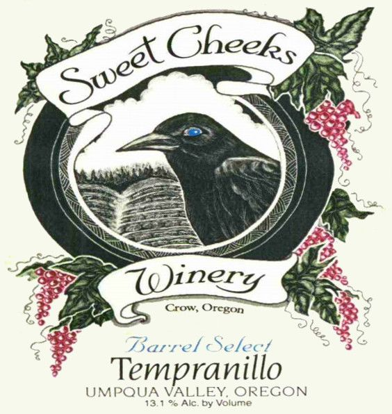 Sweet Cheeks Winery Tempranillo 2011  Front Label