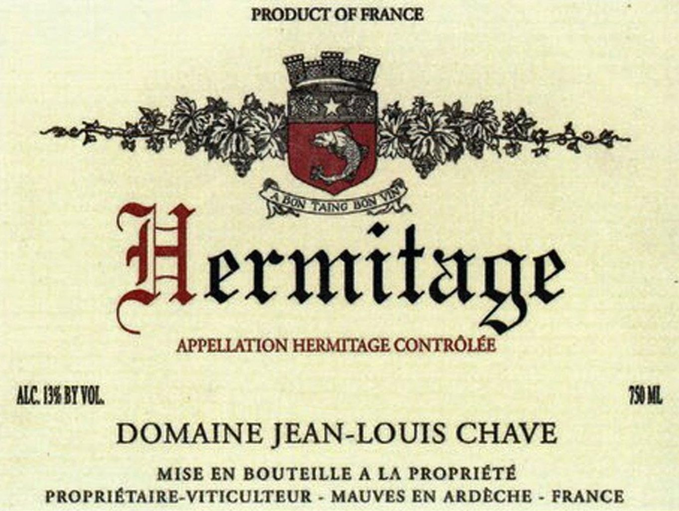 Jean-Louis Chave Hermitage (3 Liter Bottle) 2015  Front Label